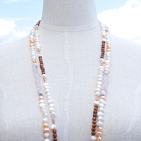 Long necklace set pearl quartz wood beaded Beach wedding Beach bride Summer style White pink peach brown grey Boho Mermaid style jewelry