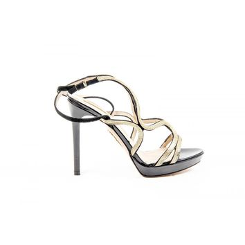 Aquazzura Firenze Womens Sandal MARTINI GOLD BLACK GOLD LEATHER CHAIN