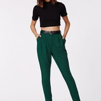 Missguided - Uttara High Waisted Tailored Belted Trouser Dark Green