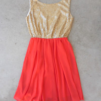 A Simple Sparkle Dress in Tangerine [6715] - $44.20 : Vintage Inspired Clothing & Affordable Dresses, deloom | Modern. Vintage. Crafted.