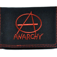 Red Anarchy Sign Tri-fold Wallet w/ Chain Thrasher Clothing DGK