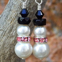 Snowman Breast Cancer Survivor Earrings, Handmade Holiday Christmas Swarovski Pink Jewelry