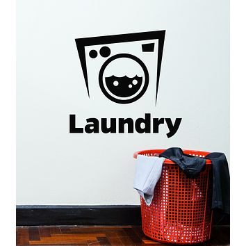 Vinyl Wall Decal Laundry Room Dry Cleaning Service Washing Machine Stickers Mural (g2966)