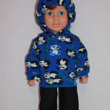 18 inch boy doll clothes,blue panda print hoodie, dark denim wide leg jeans, upbeat petites