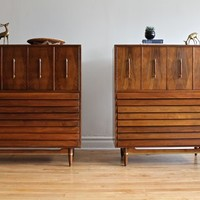 Two Mid Century Modern Highboy Dressers