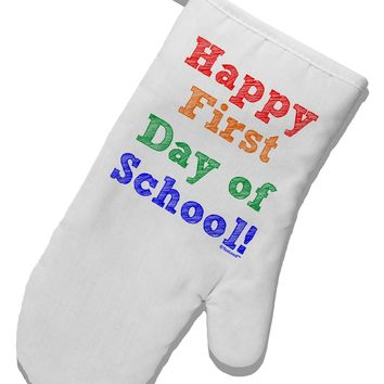 Happy First Day of School White Printed Fabric Oven Mitt