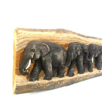 "Teak Wood Carving Of Three Elephants Family Natural Art Hand Carved Elephant Home Decor Wall Hanging / Gift sculpture 21""X5.75"""