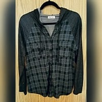 NWOT Hoity Toity Hunter Green Plaid Button Up