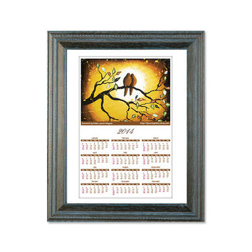 2014 Wall Calendar, Rustic Love Birds Print, Large Archival Print, Vintage Inspired Country Decor, Signed Giclee Print 13x18