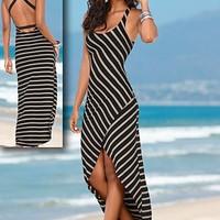 Black & Tan (BKTA) Striped Maxi Dress
