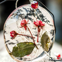 Real Roses Big Resin Pendant with Silver Plated Chain. Real Natural Flowers. Art work. Romantic Art Pendant.