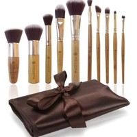 Essential Makeup Brushes for Eye Cosmetics, Contouring, Eyebrow & Blending Face Foundation. Best Vegan Premium Synthetic Hair, Includes Professional Kabuki Brush Set and Travel Case Holder