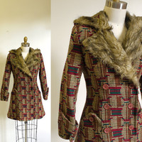 70s Faux Fur trimmed Hooded coat by seesong on Etsy