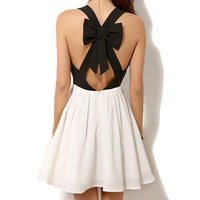 Black and White Sleeveless Skater Dress with Bow and Cross Strap Back