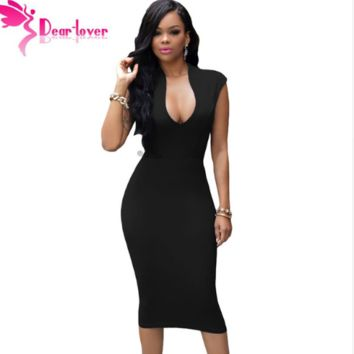 Women Black Low V Neck Dress