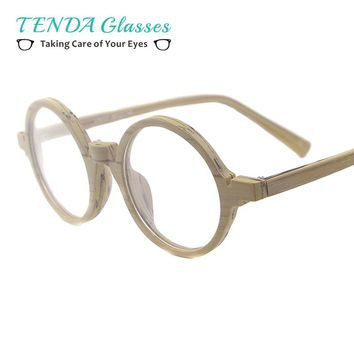 Acetate Small Spectacles Round Wood Texture Vintage Glasses Frames For Eyeglass Lenses Myopia Reading Multifocal