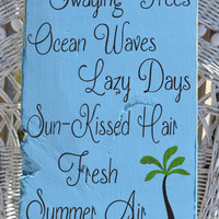 Beach Decor Beach Sign Salty Breeze Swaying Trees Summer Air Nautical Decor Painted Wood Plaque