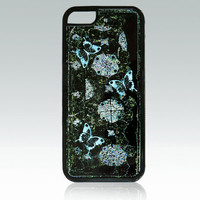 Blue butterflies iPhone 5c case, abstract iPhone 5c case, dark green iPhone 5c cover, organic, vintage style iPhone 5c cover, unique