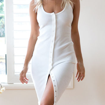 White Rib Button Front Cami Bodycon Dress