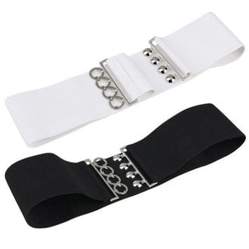 Women's Vintage Metal Elastic Stretch Buckle Wide Waist Belt Waistband
