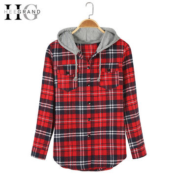 HEEGRAND Plaid Hooded Casual Spring Blouse 2016 Women Shirts Tops Full Sleeve Pockets Slim Cotton 2XL Good Quality Blusas WCL563