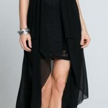 Everlasting Jeweled Luxe Black Lace High Low Dress