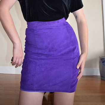Purple Suede Pencil Skirt