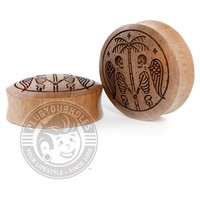 Death Palm - Engraved Wood Plugs