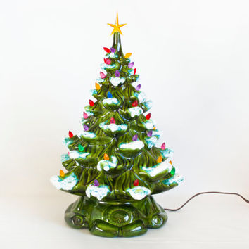 Large 16 INCH Vintage Flocked Ceramic Light Up Christmas Tree, Plastic Bulbs, Retro Holiday Decor, Working Condition