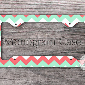 monogrammed license plate frame mint green and coral pink chevron custom auto tag