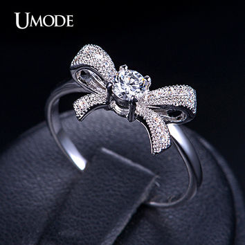 UMODE New Arrive Lovely Bowknot Design Female Jewelry Ring with Micro Paved Bow Tie CZ Stones for Party and Dating UR0109B