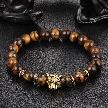 Golden Leopard Head  Eye Bead Buddha Bracelet