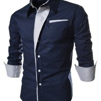 (N320) TheLees Mens Casual Long Sleeve Stripe Patched Fitted Dress Shirts Navy US M(Tag size 2XL)