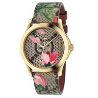 New Gucci G-Timeless Pink Blossom Leather Strap Women's Watch YA1264038