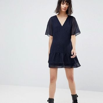 AllSaints Marley Flippy Dress with Glitter Spot Detail at asos.com
