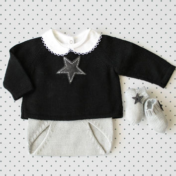 Knit baby set. Sweater, diaper cover, socks. Black and gray. Felt stars. 100% Merino. READY TO SHIP size newborn.