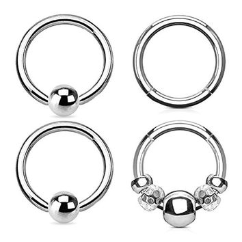 BodyJ4You 4PCS 16G Nose Hoop Seamless Hinged Segment Ring Silvertone Beads Surgical Steel Captive Bead