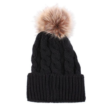 Fashion Knitted Wool Hat Women Winter Crochet Thicken Hat Solid Beanie Warm Cap For Womens Casual Fur Ball Skullies Femme D91