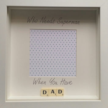 Who needs superman when you have dad daddy scrabble personalised handmade scrabble photo frame custom birthday fathers day gift