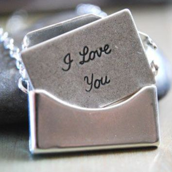 Silver Envelope Necklace Removable I Love You by paperfacestudio