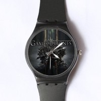 Custom Game of Thrones Watches Classic Black Plastic Watch WT-0820