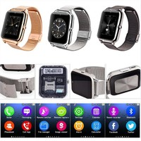 NFC Bluetooth Smart Watch Phone With SIM TF Card Slot Stailess Steel Strap For Samsung iPhone Motorola LG HTC Huawei Lenovo ZET