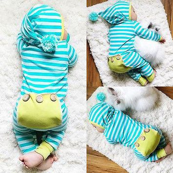 2017 Baby Spring Rompers Newborn Infant Baby Boys Girls Romper Jumpsuit Outfits Striped One-Pieces Clothes