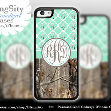 Monogram Iphone 5C case Browning Mint Quatrefoil Quilted iPhone 5s iPhone 4 case Ipod 4 5 case Real Tree Camo Deer Personalized Country Girl