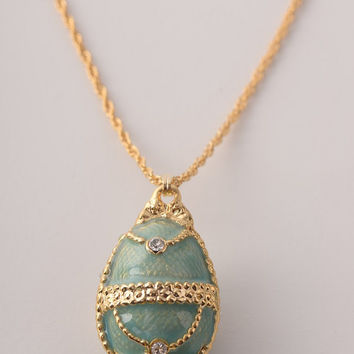 Light Blue Egg Pendant Necklace Faberge Styled Handmade by Keren Kopal Enamel Painted Decorated with Swarovski Crystals