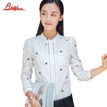 Qiqi Work Wear Office 2016 Shirt Women Tops White Embroidery Long Sleeve Cotton Blouse Hollow out Shirts Women Plus Size Blusas