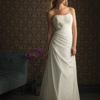 2012 Far & Away by Allure - White & Silver Crepe Chiffon Pleated Strapless Floral Destination Wedding Dress - 2 to 32 - Unique Vintage - Cocktail, Evening & Pinup Dresses