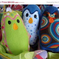 ON SALE Stuffed Penguin made of fleece and flannel great baby shower birthday party favor baby gift