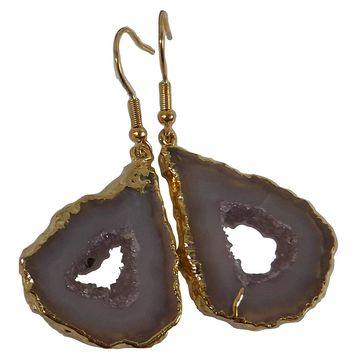 Agate Geode Jewelry Earrings, Natural Stone Slice Dangle w/ Center Druzy Crystals, Gold-Electroplate Edge