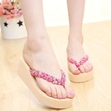 ac PEAPON Design Stylish Thick Crust Floral Slippers Wedge Summer Platform Anti-skid Sandals [10210880652]